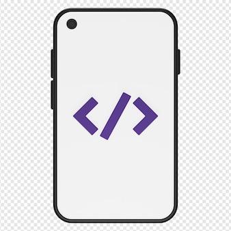 Rendering 3d isolato dell'icona di programmazione mobile psd