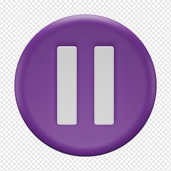 Rendering 3d isolato dell'icona del pulsante di pausa psd