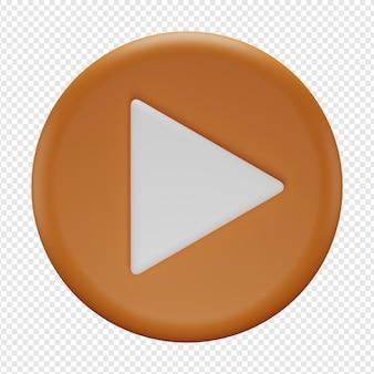 Rendering 3d isolato dell'icona del pulsante di riproduzione psd