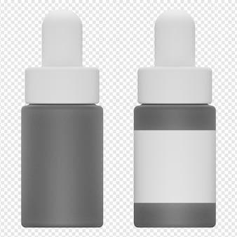 Rendering 3d isolato dell'icona della bottiglia di siero psd