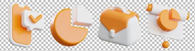 Rendering 3d isolato di vari oggetti