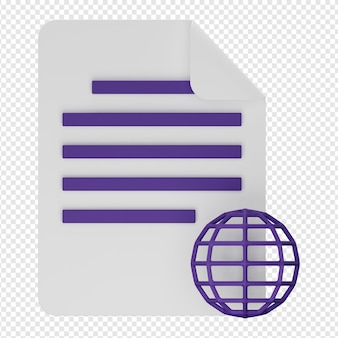 Rendering 3d isolato dell'icona del documento del sito web psd
