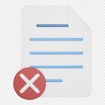Rendering 3d isolato dell'icona del documento sbagliato