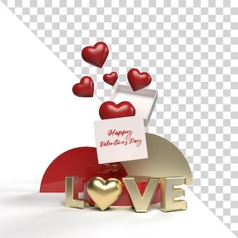 Annuncio di regalo di mockup di san valentino isolato 3d