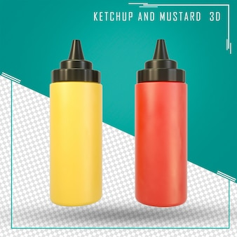 Bottiglia di ketchup e senape 3d isolata