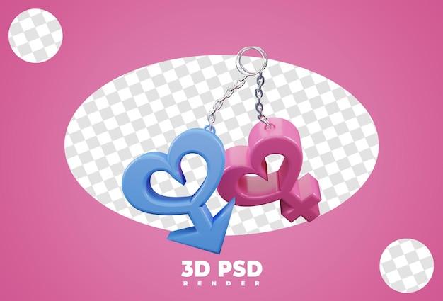 Isolato di genere maschile e femminile della catena chiave 3d