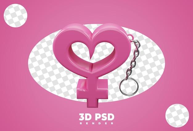 3d portachiavi con sesso femminile isolato