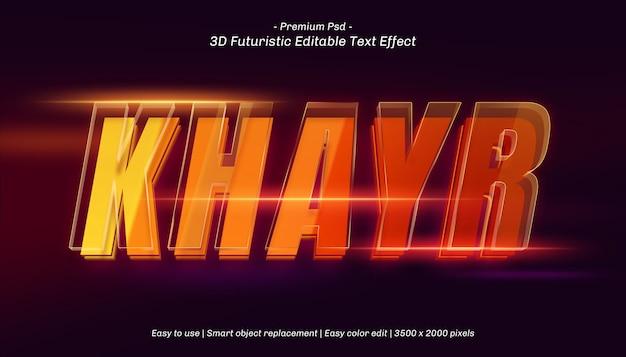 Effetto di testo modificabile 3d khayr