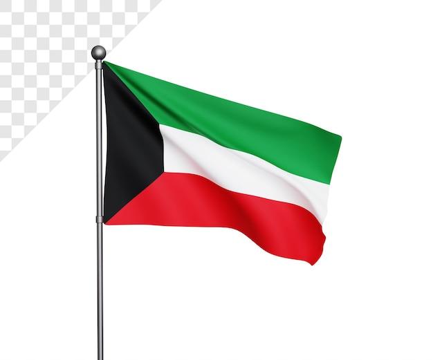 3d bandiera kuwait illustrazione