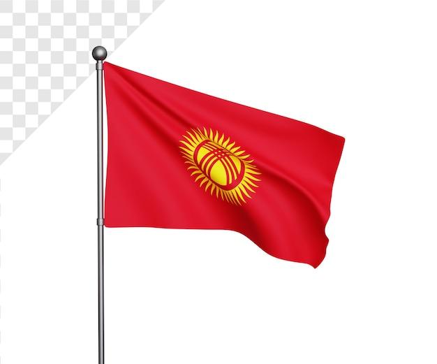 Illustrazione 3d della bandiera del kirghizistan