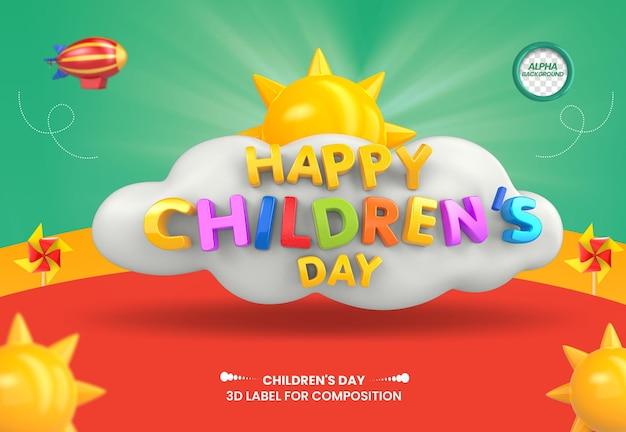 Etichetta 3d felice giornata dei bambini con nuvole e sole