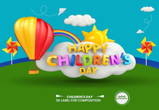 Etichetta 3d felice giornata dei bambini con nuvola di sole e mongolfiera