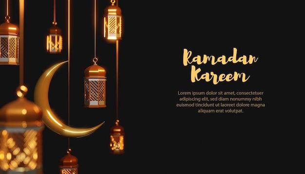 Modello 3d lampada e luna ramadan kareem
