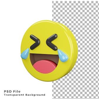 Icona di emoticon di risata 3d di alta qualità per il rendering di file psd
