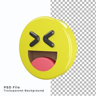 Emoticon che ride 3d icona emoji file psd di alta qualità