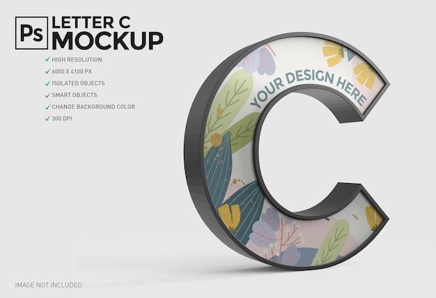 Progettazione di mockup 3d lettera c.