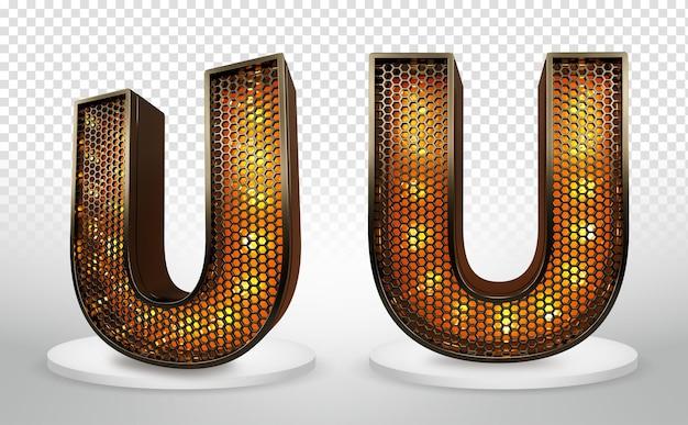 Lettera u 3d con luci e griglia