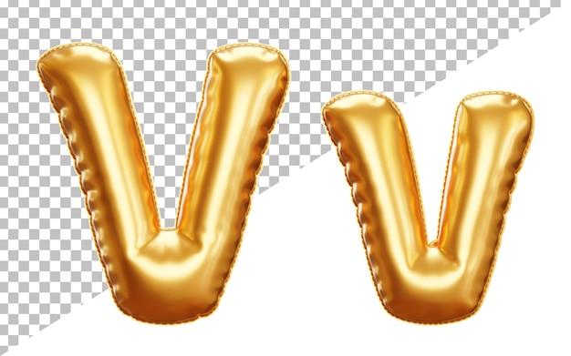 Alfabeto con palloncino in lamina di elio oro lettera v 3d, maiuscolo e minuscolo
