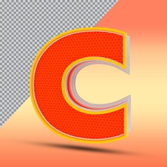 Lettere 3d c effetto stile colore arancione