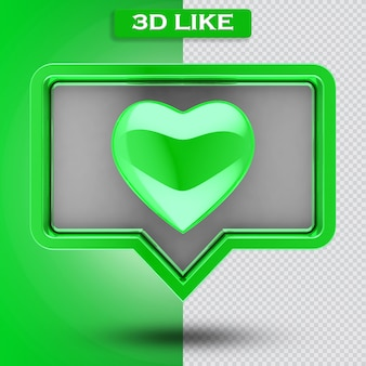 3d come icona con cuore