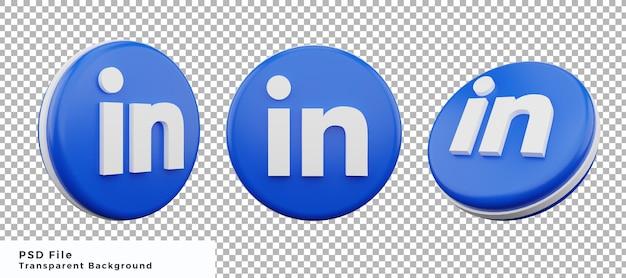 Pacchetto di elementi icona logo 3d linkedin con varie angolazioni di alta qualità