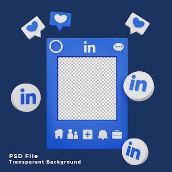 Asset del modello di mockup di linkedin 3d con l'illustrazione dell'icona del logo di alta qualità