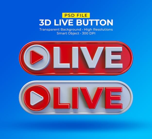 Post in live streaming sui social media con pulsante 3d live