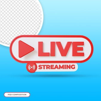 Rendering 3d dei pulsanti di streaming live