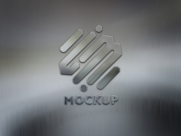 Logo 3d su placca di metallo spazzolato mockup