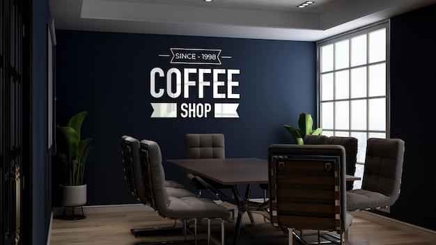 Modello di logo 3d nella sala riunioni del bar o della caffetteria