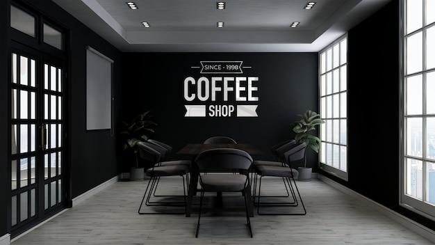 Modello di logo 3d nella sala riunioni del caffè