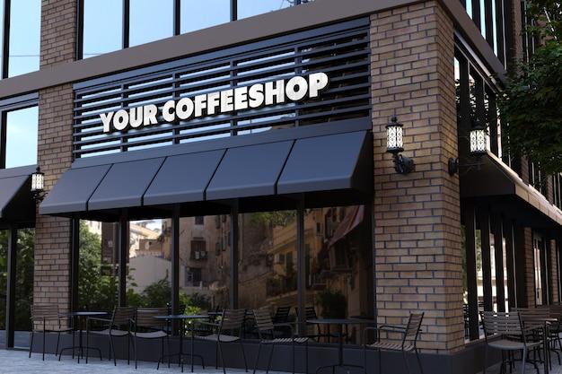 Mockup di logo 3d sul segno della facciata della caffetteria
