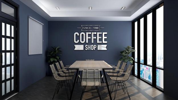 Modello di logo 3d nella sala riunioni della caffetteria