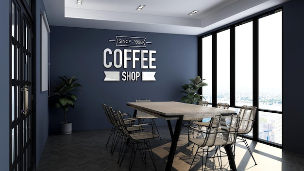 Modello di logo 3d nella sala riunioni della caffetteria Psd Premium