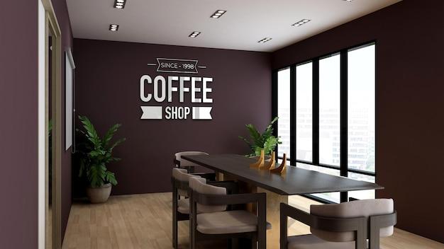 Modello di logo 3d in caffetteria o sala riunioni del ristorante