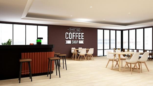Modello di logo 3d in caffetteria o ristorante con interni dal design moderno