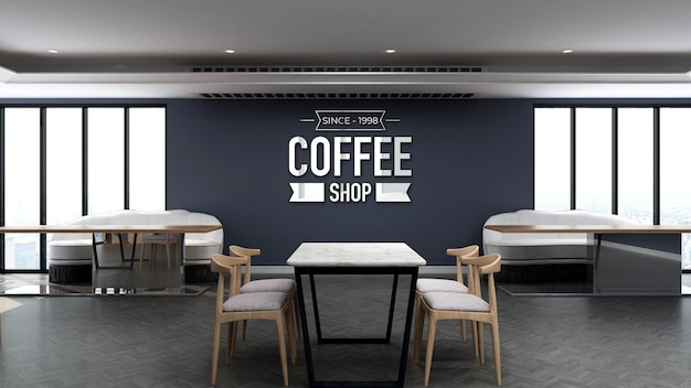 Modello di logo 3d nella caffetteria con tavolo in legno e parete blu