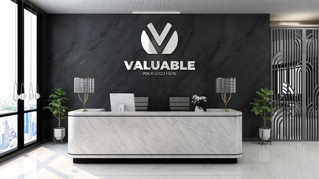 Modello di logo 3d nella moderna sala della reception dell'ufficio di lusso