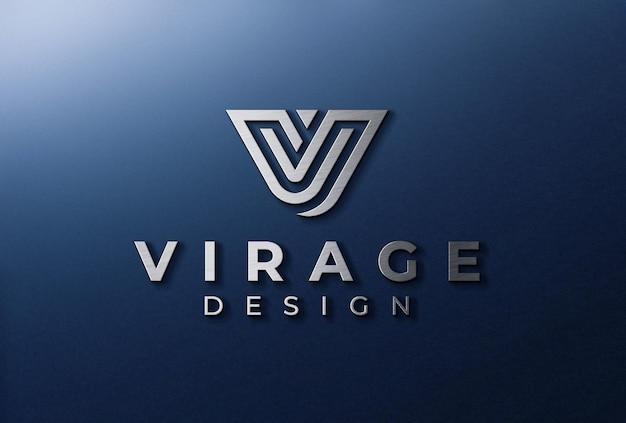 Logo 3d mockup logo metallico signage sul muro Psd Premium