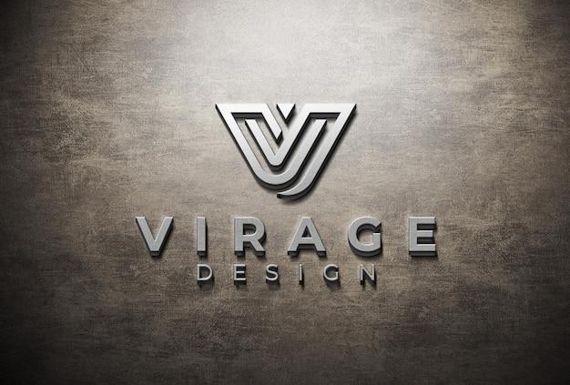 Logo 3d mockup logo testurizzato metallico