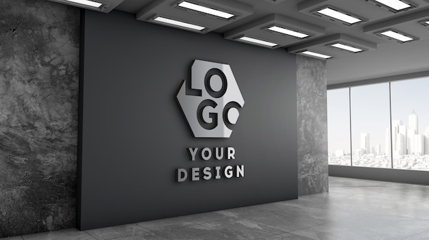 3d logo mockup moderno ufficio parete nera