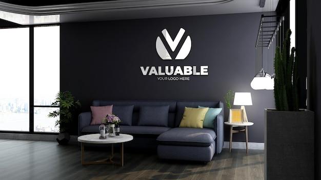 Modello di logo 3d nella moderna sala d'attesa della hall dell'ufficio con divano blu