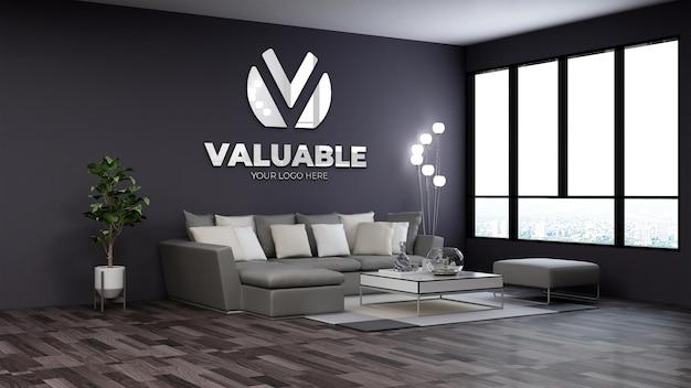 Modello di logo 3d nella moderna sala d'attesa della hall dell'ufficio con divano e lampada da terra