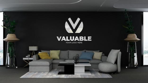 Modello di logo 3d nella moderna sala d'attesa della hall dell'ufficio con divano