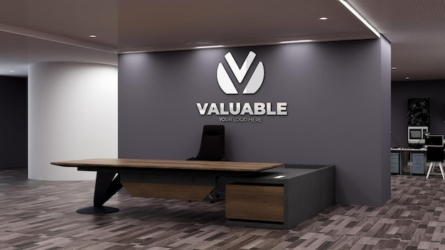 Modello di logo 3d nella moderna sala d'attesa della hall dell'ufficio office