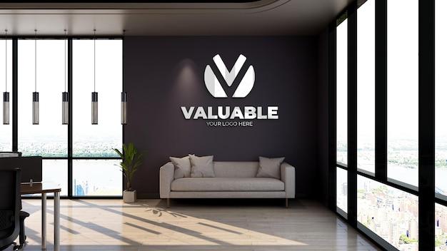 Modello di logo 3d nella moderna sala d'attesa della hall dell'ufficio