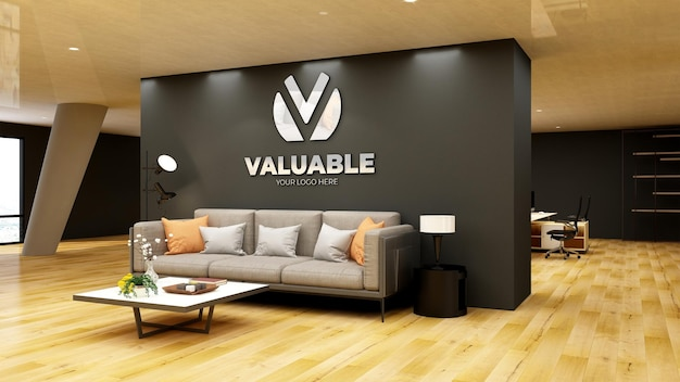 Mockup di logo 3d nella sala d'attesa dell'ingresso dell'ufficio moderno
