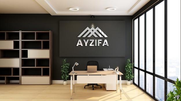 Mockup di logo 3d nella stanza dell'ufficio moderno