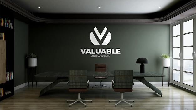 Modello di logo 3d nella stanza del manager dell'ufficio con parete verde