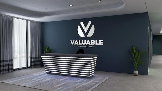 Modello di logo 3d nella reception dell'ufficio o receptionist con parete blu scuro